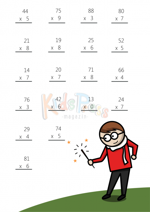 Math Worksheets 2 Digit by 1 Digit Multiplication 4 – Two Digit by One Digit Multiplication Worksheet