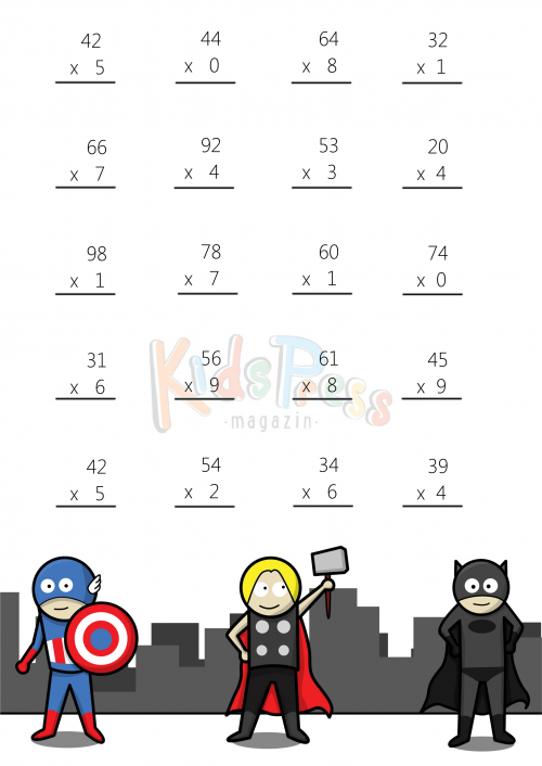 Math Worksheets – 2 Digit by 1 Digit Multiplication #2 ...