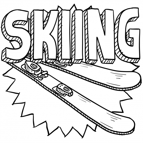 bears skiing coloring pages-#34