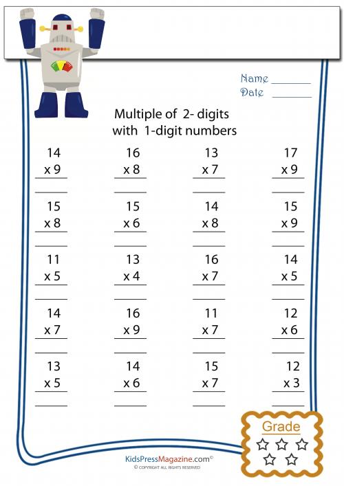 2 Digit Multiplied By 1 Digit Worksheet 2 Kidspressmagazine