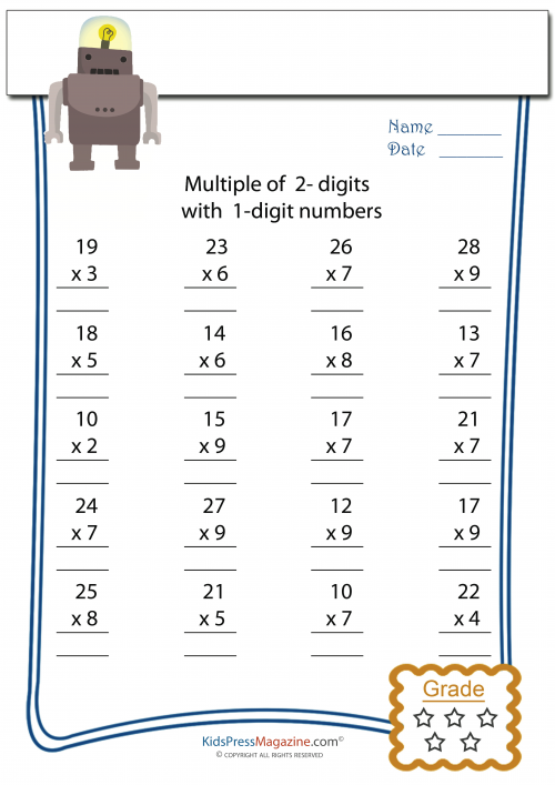 math worksheet : multiplication worksheet  2 digit times 1 digit 5  : 2 Digit X 1 Digit Multiplication Worksheets