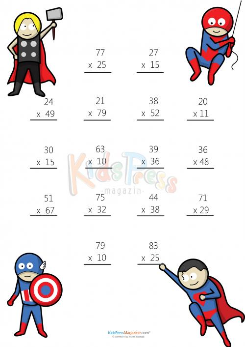 Multiplication Worksheets free two digit multiplication worksheets : Math Worksheets – 2 Digit by 2 Digit Multiplication #1 ...