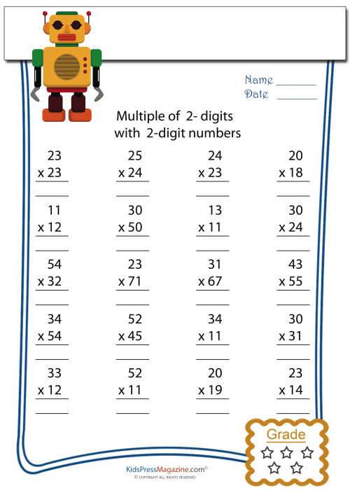 Multiplication Worksheets 2 digit by 2 digit multiplication – Double Digit Multiplication Worksheets Grade 4