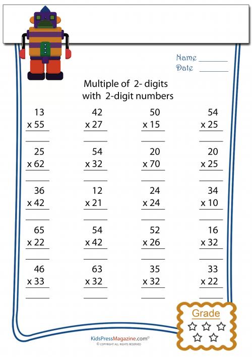 Multiplication Worksheet - 2 Digit times 2 Digit #2 ...