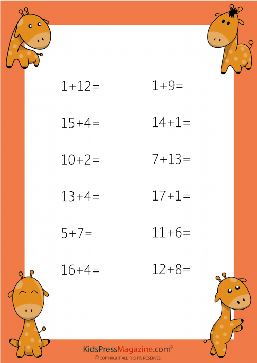 Easy Addition Worksheet - #5 - KidsPressMagazine.com
