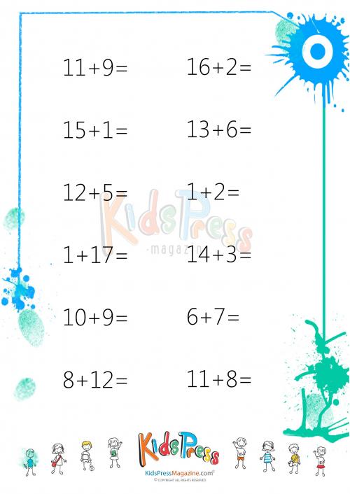 Easy Addition Worksheet - #1 - KidsPressMagazine.com