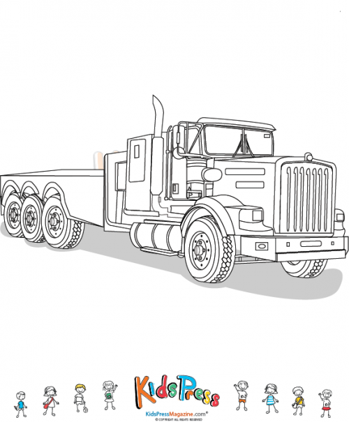 empty open bed semi truck color page