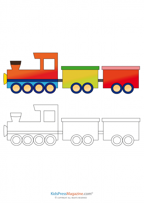 Train Coloring Page With Colored Reference