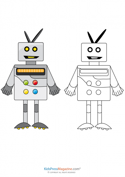 Robot Coloring Page Kidspressmagazine Com