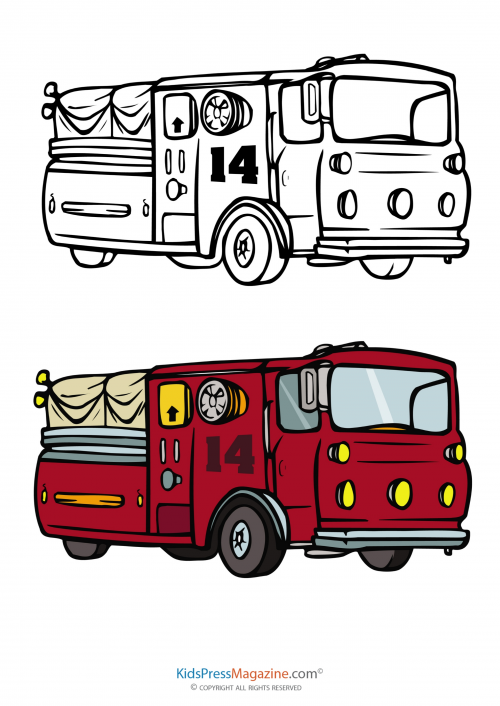 Fire Truck Coloring Page With Fully Colored Reference    KidsPressMagazine.com