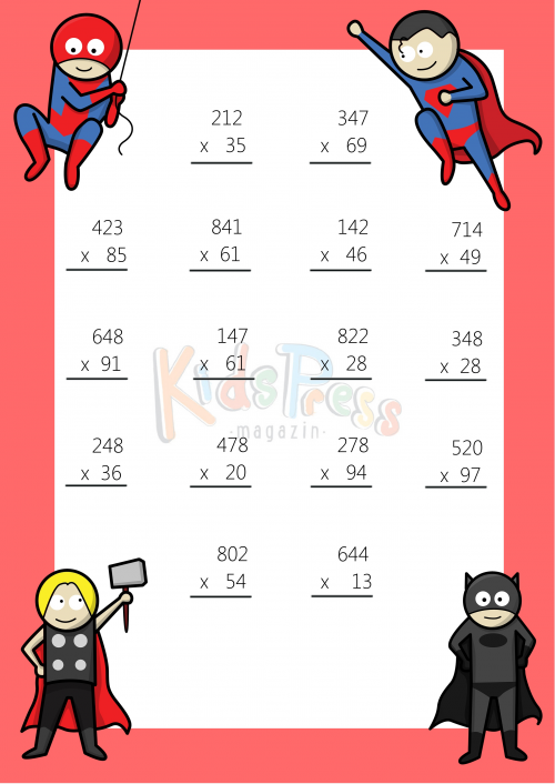 Number Names Worksheets multiply 3 digit by 2 digit : 3 Digit by 2 Digit Multiplication Worksheet -#8 ...