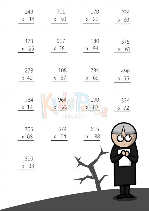 3 Digit by 2 Digit Multiplication Worksheet 3 – 3 Digit Multiplication Worksheets