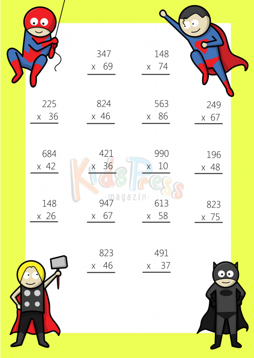 3 digit by 2 digit multiplication worksheets free