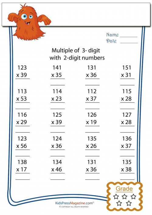 Multiplication Worksheets 2 And 3 Digit Multiplication – Triple Digit Multiplication Worksheets