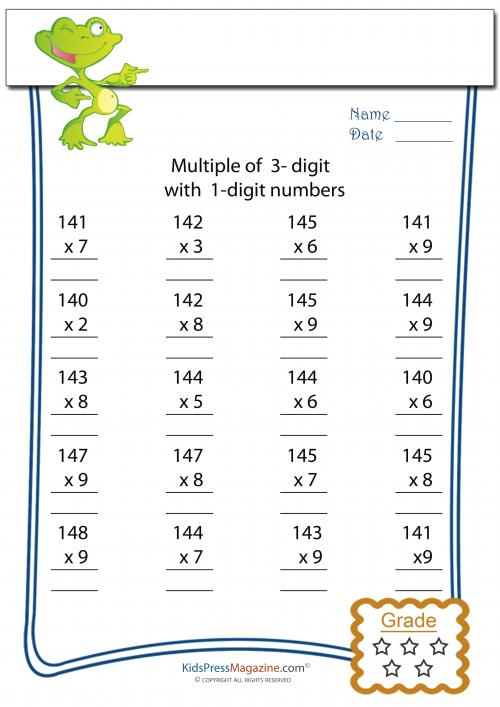 multiplication worksheet 3 digit by 1 digit 3. Black Bedroom Furniture Sets. Home Design Ideas