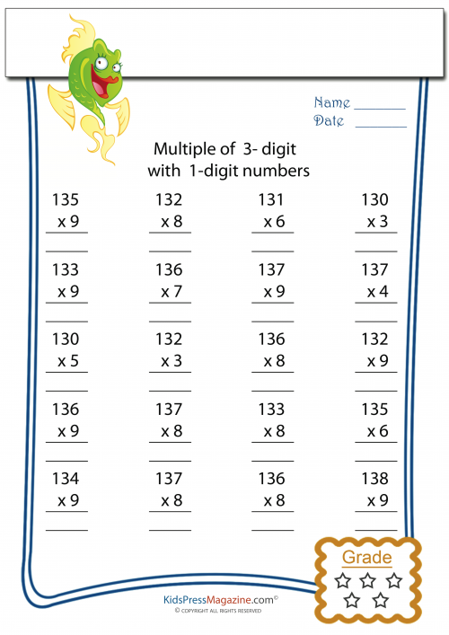 Multiplication Worksheet 3 Digit By 1 2. Multiplication Worksheet 3 Digit By 1 2 Get It Now. Worksheet. 2 By 1 Digit Multiplication Worksheets At Clickcart.co