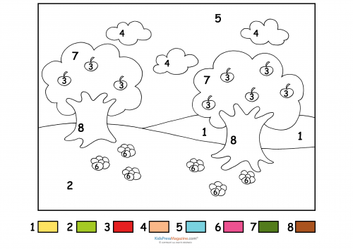 Apple Trees And Flowers Color By Number Tree Color By Number Coloring Pages