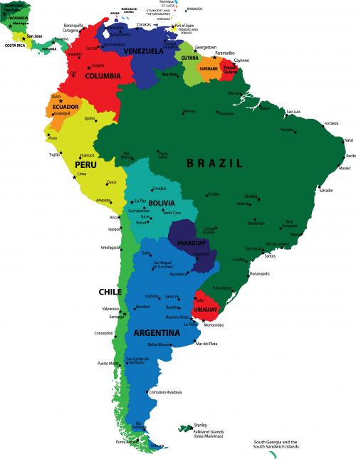 Map of the Continent of South America with Countries and Capitals KidsPress