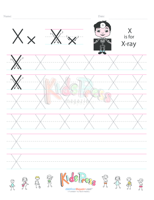 Handwriting Worksheet Letter X - KidsPressMagazine.com