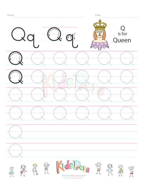 handwriting worksheet letter q