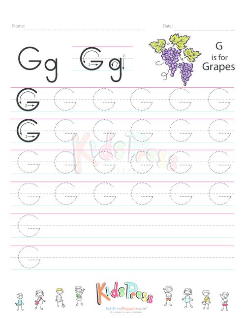 Handwriting Worksheet Letter G Kidspressmagazine Com