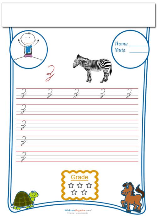 Cursive Writing Worksheet Letter Z - KidsPressMagazine.com