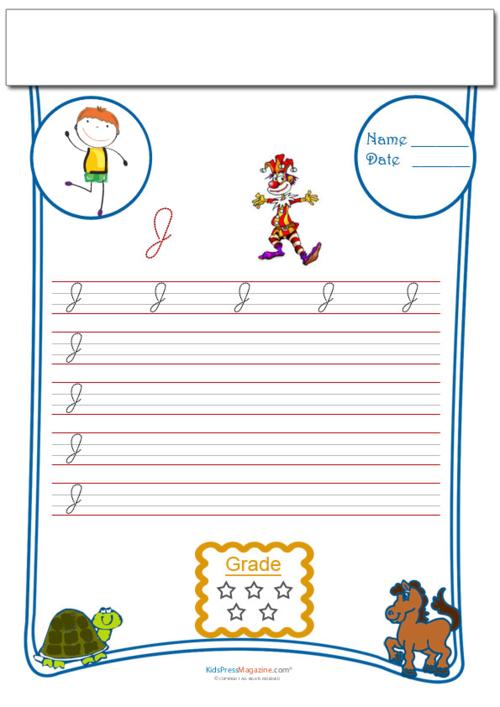 Cursive Writing Worksheet Letter J - KidsPressMagazine.com