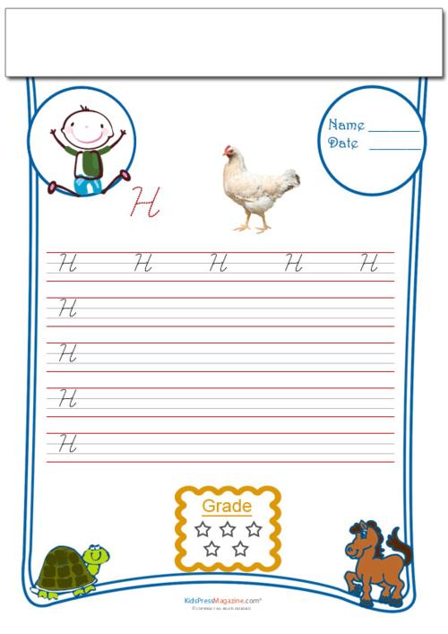 Cursive Writing Worksheet Letter H - KidsPressMagazine.com