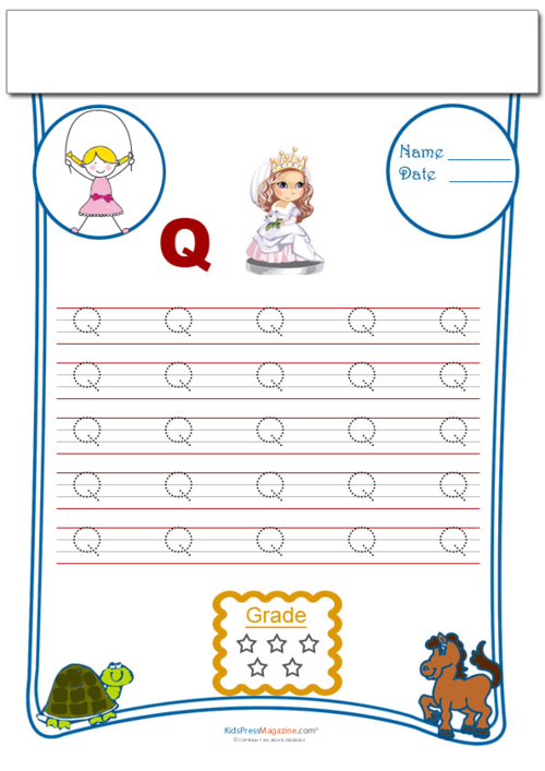 Handwriting practice traceable q kidspressmagazine lines with the letter q equally spaced on them to allow students to carefully trace the letter while learning its shape and how to write it correctly expocarfo Images