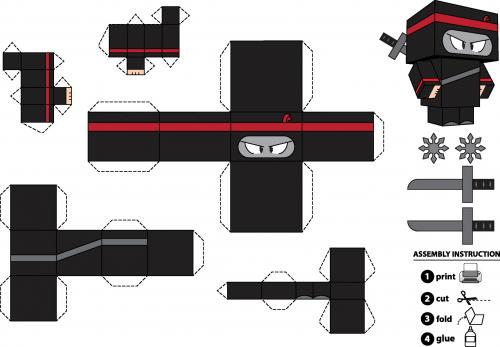 photograph regarding Printable Foldables called Paper Crafts Foldable Ninja Boy -