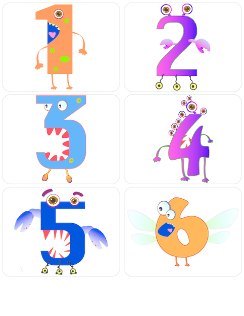 Monster Numbers Flashcards 1