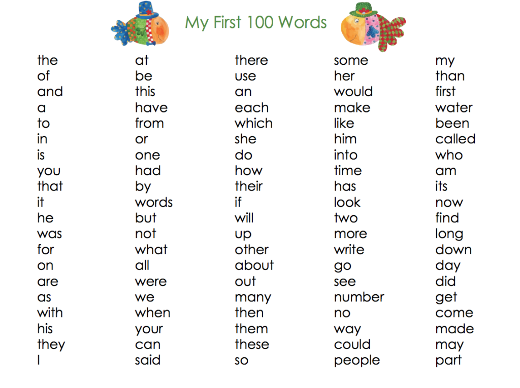 My First 100 Words -Set of 3 x 100 words list ...