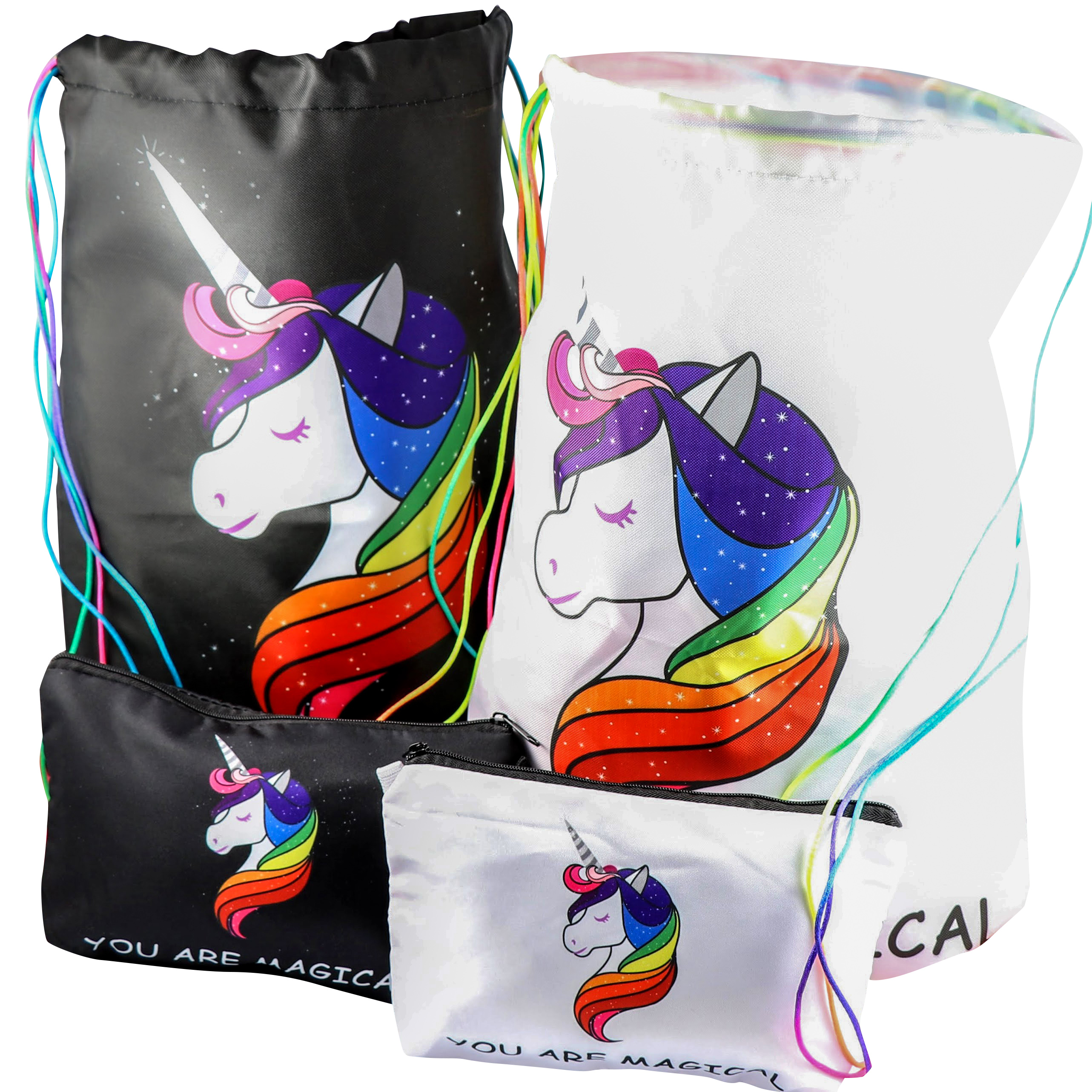 Unicorn gifts: drawstring bags & make up bag